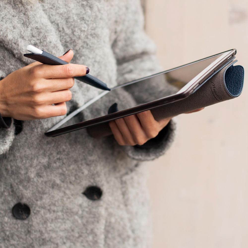 Чехол для ручки Stylus Easy из натуральной кожи теленка, цвета синий мат