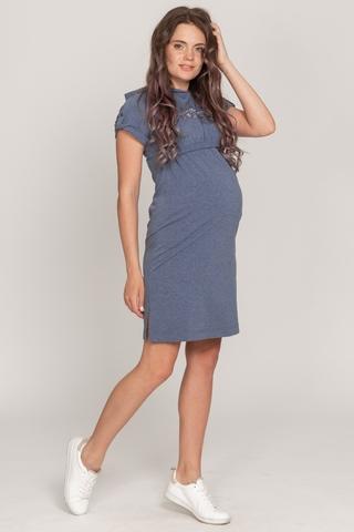 Платье для беременных и кормящих 10506 темно-синий