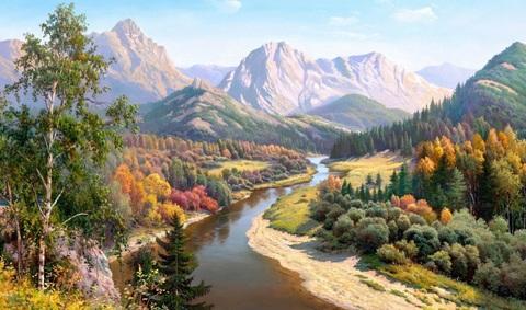 Алмазная Мозаика 40x50 Горная речка среди деревьев (арт. HWA2948 )