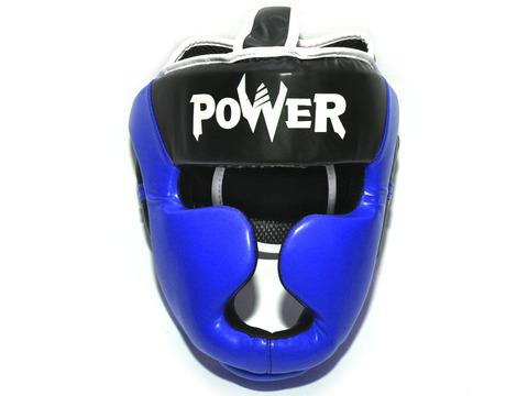 Шлем боксерский POWER, ПВХ, цвет синий, размер S :HT-P-S-C: