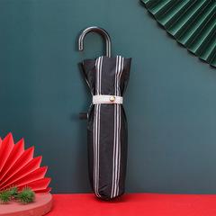Суперлегкий зонт, ручка крюк, женский, с защитой от УФ, механика, 6 спиц (черный в полоску)
