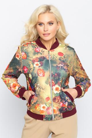 Бомбер (цветы вишня),. <p><span>Хит! Модный бомбер, у которого в этом сезоне нет конкурентов. Бомбер прекрасно дополнит множество модных образов. Функциональные карманы. По переду замок.</span></p>