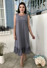 Аріна. Легке плаття з рюшею плюс сайз. Сірий