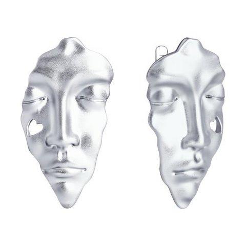 94024272 - Серьги Лица из серебра 925 пробы
