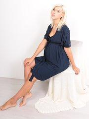 Euromama/Евромама. Комплект халат и сорочка вискозный шелк, темно-синий вид 5