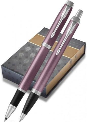 Подарочный набор с чехлом: Роллер и Шариковая ручки Parker IM Metal Light Purple CT123