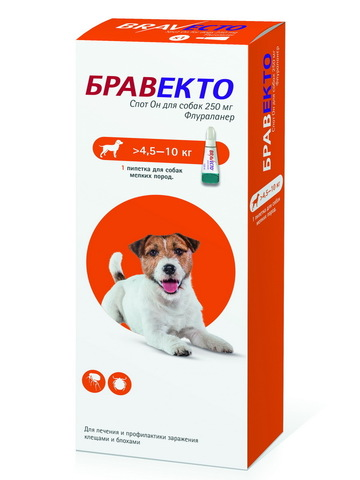 Бравекто Spot On капли на холку для собак 4,5-10 кг   1 пип.