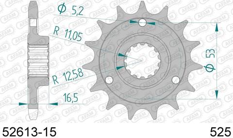 52613-15 звезда передняя DUCATI Monster, Supersport, Multistrada (ведущая) стальная, 525, AFAM (JTF741.15)