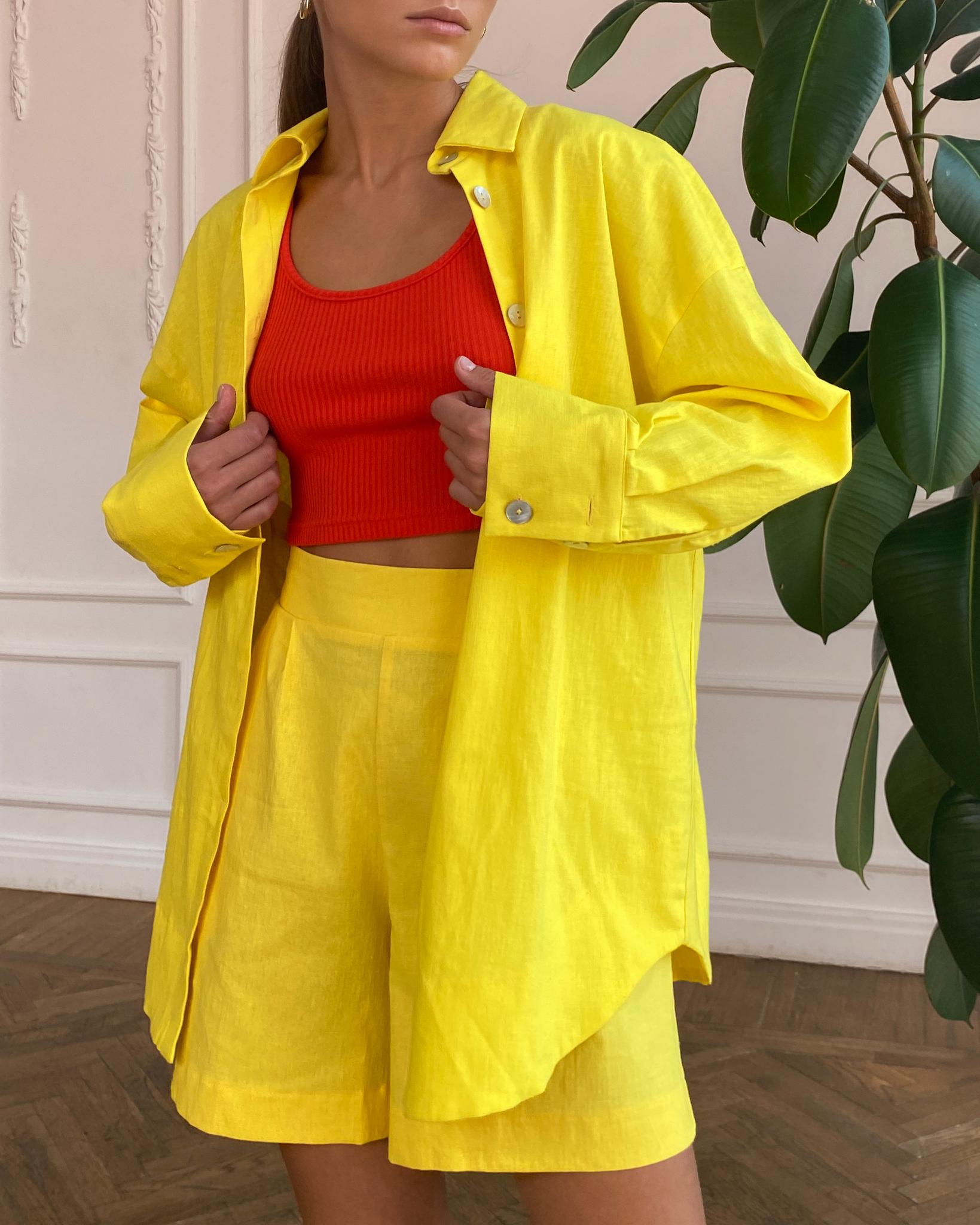 Рубашка объемная изо льна (желтый)