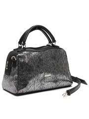 Кожаная металлизированная сумка классической формы