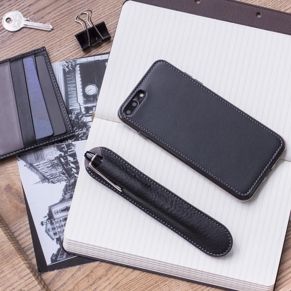 Чехол-накладка для iPhone 8 Plus из натуральной кожи теленка, черного цвета
