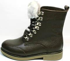 Коричневые ботинки на шнуровке женские зимние Studio27 576c Broun.