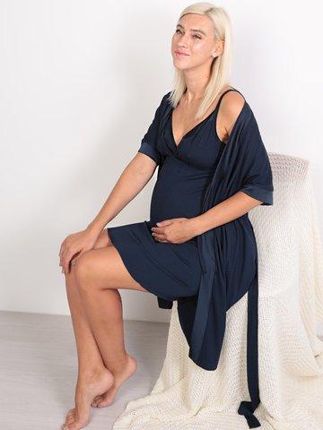 Euromama/Евромама. Комплект халат и сорочка вискозный шелк, темно-синий