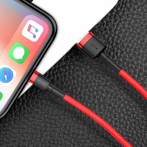 Кабель Baseus cafule Cable USB For lightning 2.4A 0.5M Red+Red