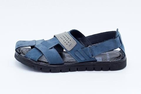 Синие сандалии из нубука на рифленой подошве