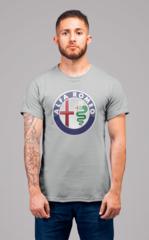 Мужская футболка с принтом Альфа Ромео (Alfa Romeo) серая 001