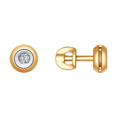 1021089-Серьги-пусеты из золота с бриллиантам