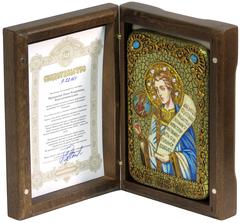 Инкрустированная Икона Преподобный Роман Сладкопевец 15х10см на натуральном дереве, в подарочной коробке