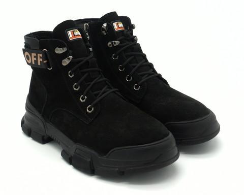 Черные ботинки из натурального нубука.