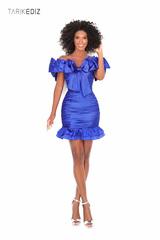 Tarik Ediz 50618 Короткое синее платье от дизайнера Tarik Ediz. Коллекция 2020