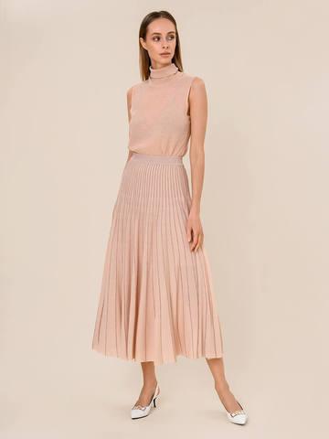 Женская юбка-плиссе бежевого цвета из вискозы - фото 2