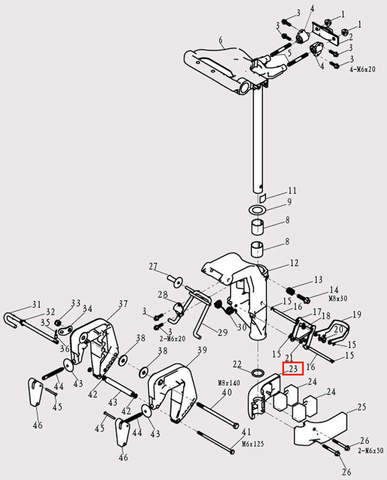 Корпус амортизатора для лодочного мотора F9.8 Sea-PRO (13-23)