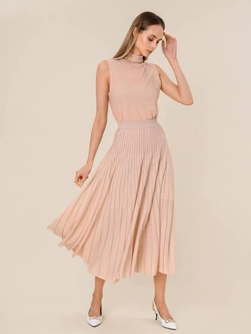 Женская юбка-плиссе бежевого цвета из вискозы - фото 4