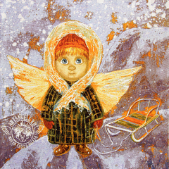«Ангел с теплым сердцем» Наволочка гобеленовая 30х30 см