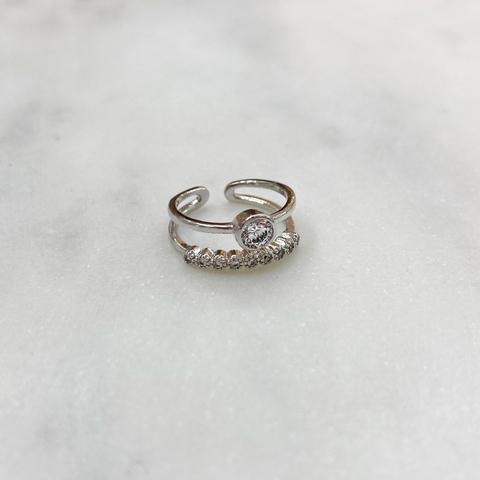 Кольцо на фалангу двурядное с круглым цирконом (серебристый)
