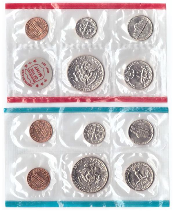 Набор США 1972 (D и P) UNC (5 монет + жетон; 6 монет) в родном конверте. Медно-никель, медь