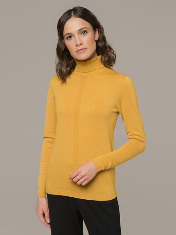 Женский джемпер желтого цвета из шерсти и шелка - фото 3
