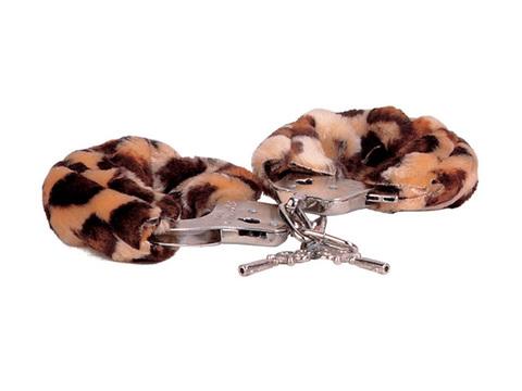 Металлические наручники, обшитые леопардовым мехом