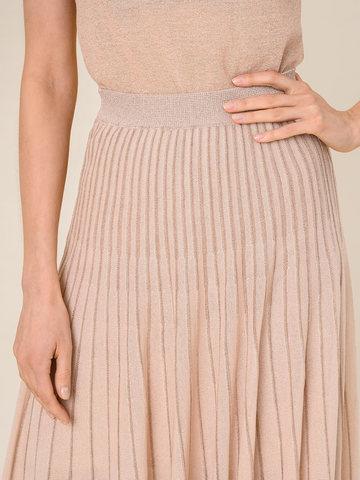 Женская юбка-плиссе бежевого цвета из вискозы - фото 6
