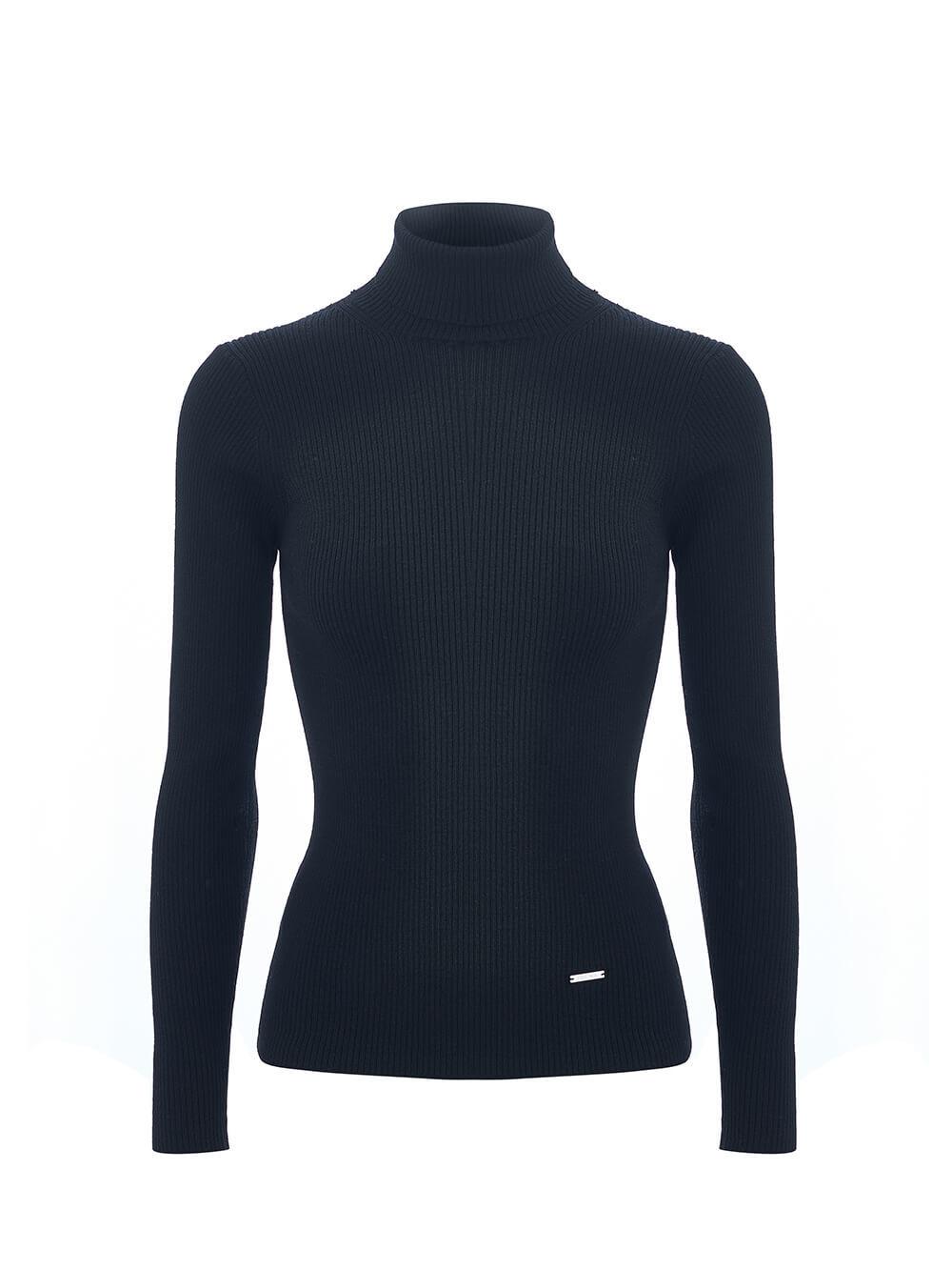 Женская водолазка черного цвета из 100% шерсти - фото 1