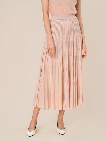 Женская юбка-плиссе бежевого цвета из вискозы - фото 3