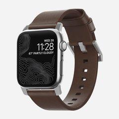 Ремешок Nomad Modern Strap Apple Watch 44 / 42 мм коричневый / серебристый