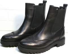Красивые ботинки женские Jina 7113 Leather Black.