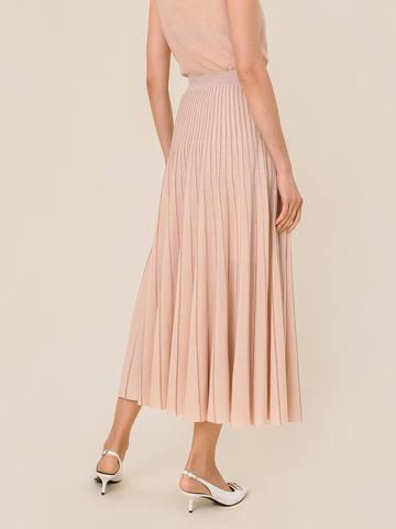 Женская юбка-плиссе бежевого цвета из вискозы - фото 5