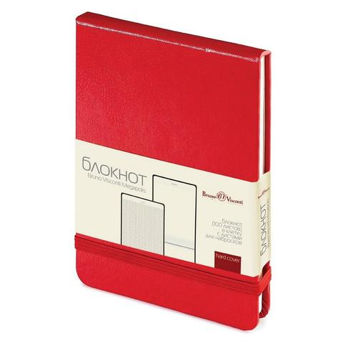 Блокнот Bruno Visconti Megapolis А6 100 листов красный в клетку на сшивке с фиксирующей резинкой (90х130 мм)