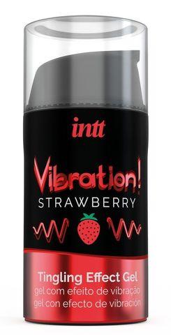 Жидкий интимный гель с эффектом вибрации Vibration! Strawberry - 15 мл.