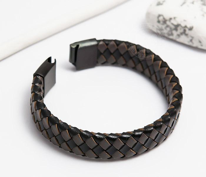 BM450-2 Мужской плетеный браслет из натуральной кожи (20 см) фото 03