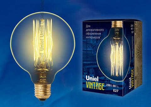 IL-V-G95-60/GOLDEN/E27 VW01 Лампа накаливания Vintage. Форма «шар». Форма нити VW. Картон. ТМ Uniel