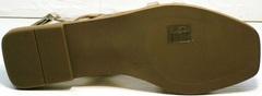 Летние сандалии женские на плоской подошве Wollen M.20237D ZS Gold.