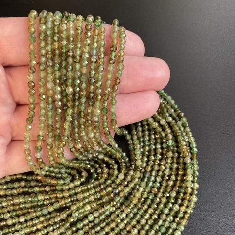Бусины турмалин зелёный A шар граненый 3 мм цена за 65 бусин (~19 см)