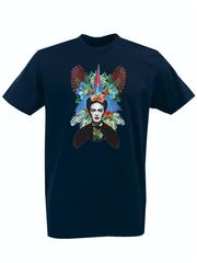 Футболка с принтом Фрида Кало (Frida Kahlo) темно-синяя 004