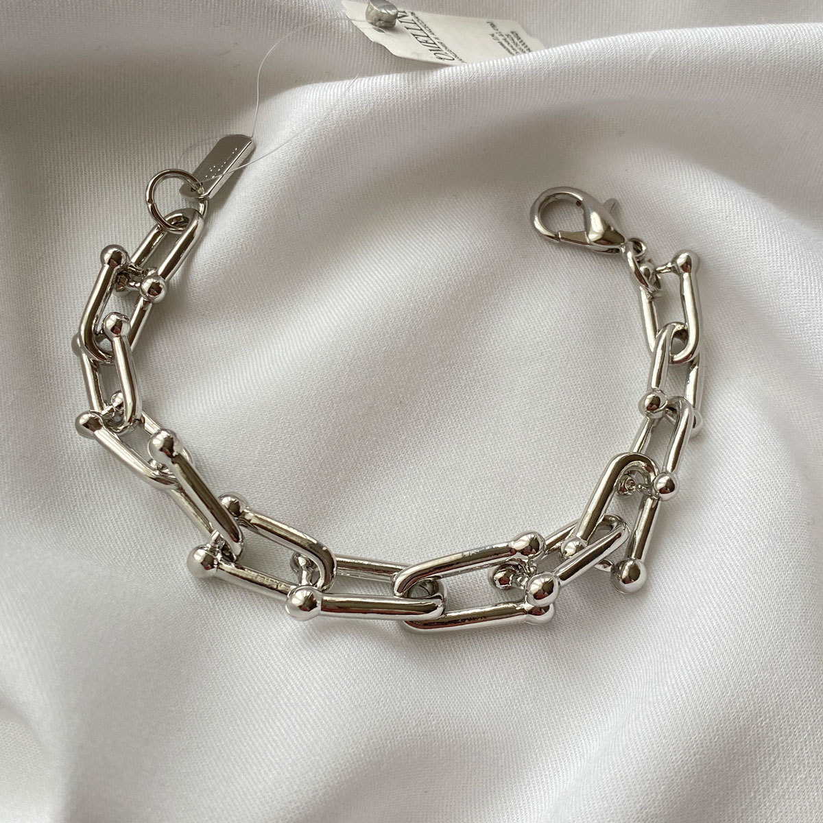 Браслет-цепь с U-звеньями серебряный (сталь, родирование)