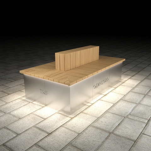 Rectangular with back settle PUBLIC with lights