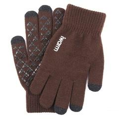 Вязаные мужские перчатки с тачскрином IWARM (Перчатки для сенсорных экранов) коричневые