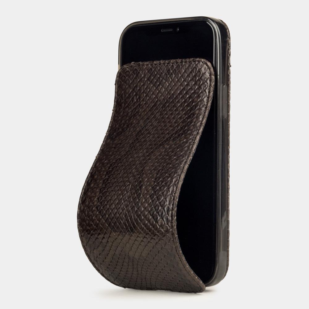 Чехол для iPhone 12 Pro Max из натуральной кожи питона, темно-коричневого цвета