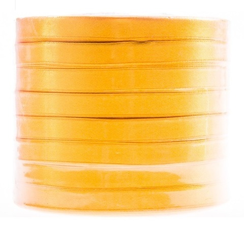 Лента атласная в уп. 8 шт. (размер: 10 мм х 50 ярд) Цвет: желтый